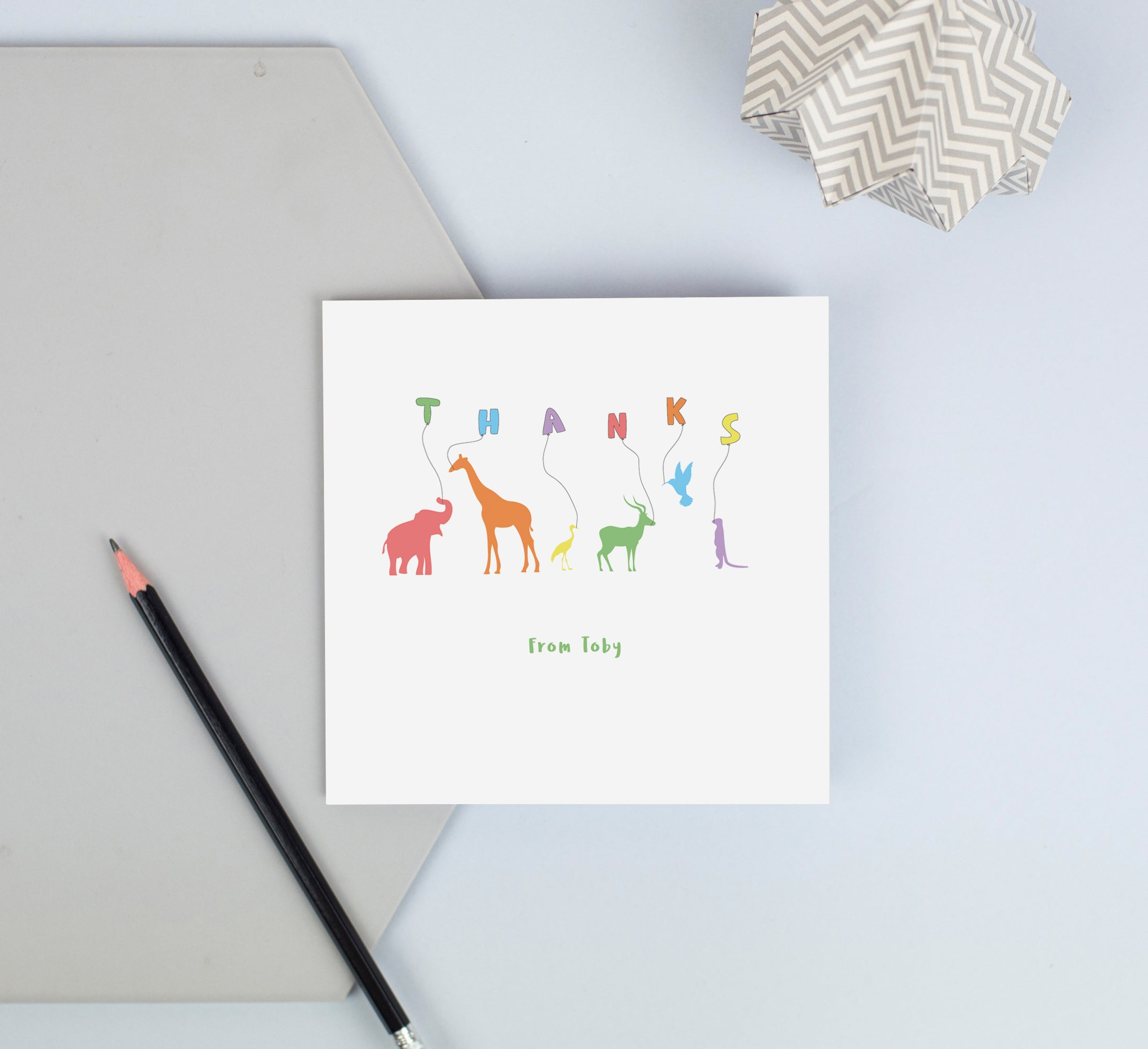 Personalised thank you cards - animals with balloons