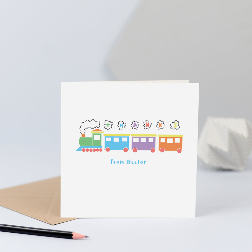 "Delightful childrens personalised thank you cards with an illustration of a steam train with the word ""Thanks"" written in the smoke."