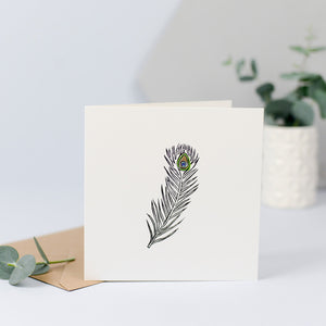 A simple design with a peacock feather, perfect for sending for any occasion.