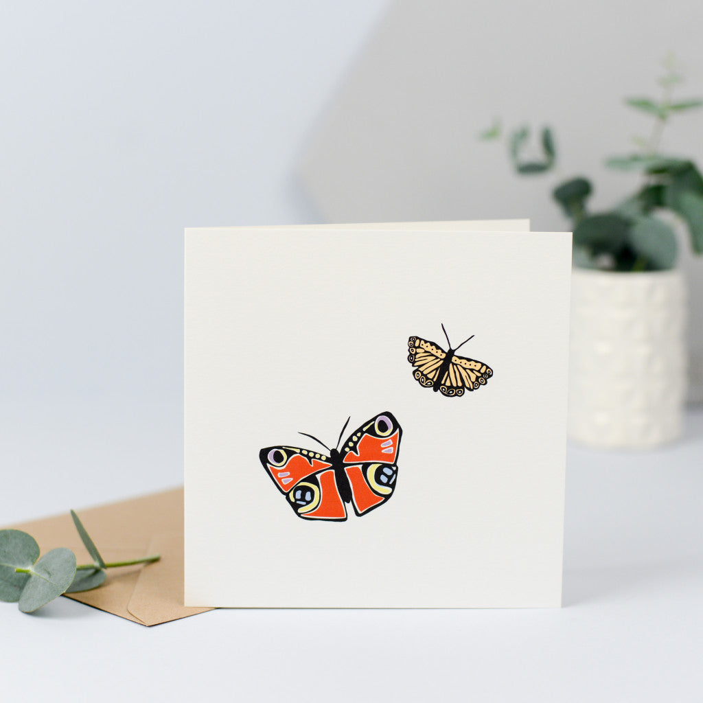 A hand drawn illustrations of two beautiful butterflies.