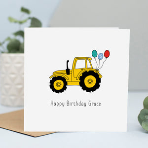 Yellow Tractor Birthday Card
