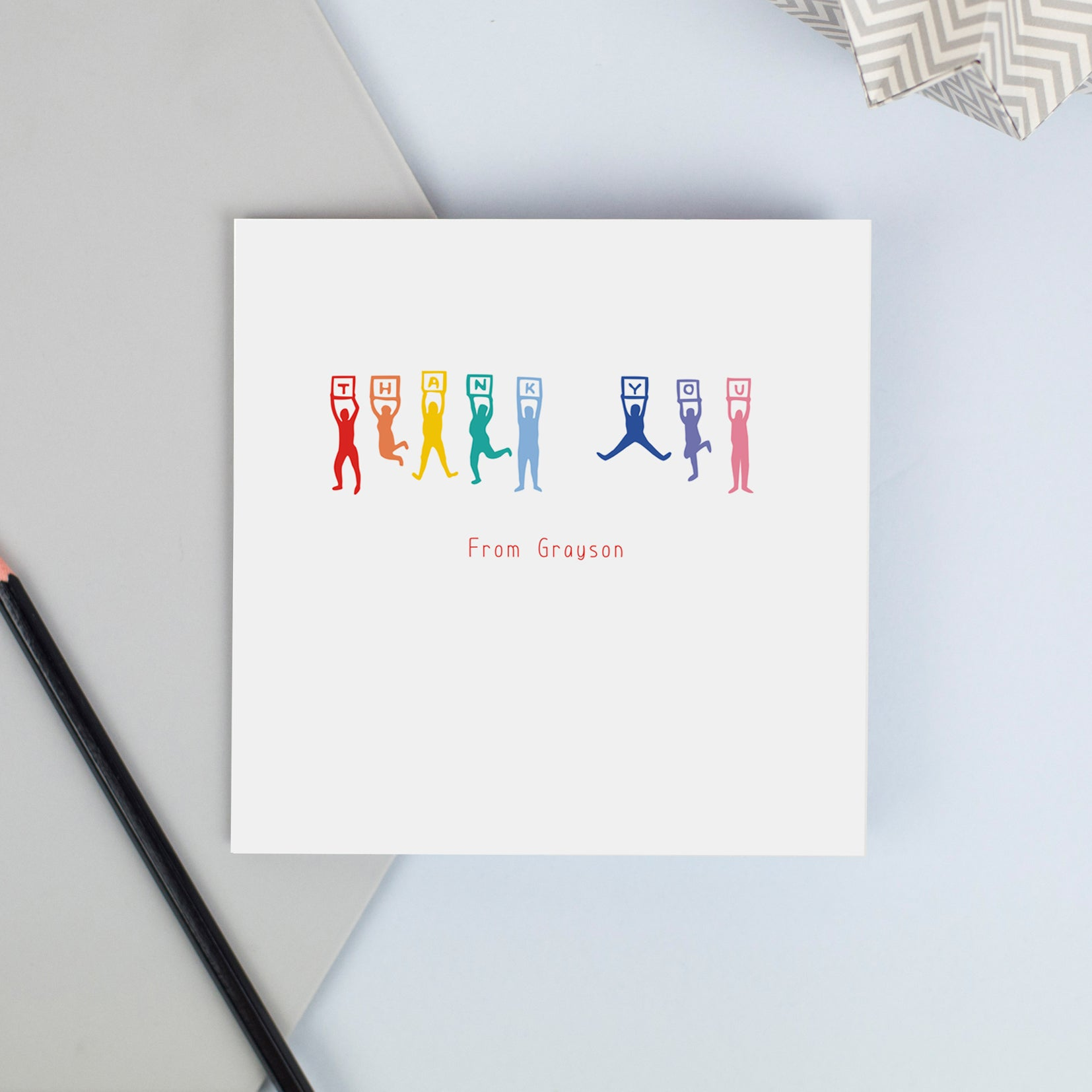 Personalised thank you cards - jumping thank you