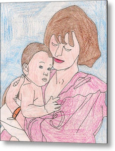 A Mother Holding Her Son - Metal Print