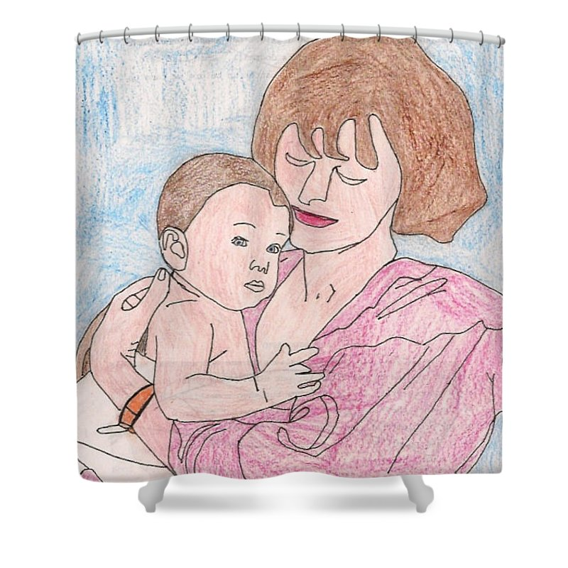 A Mother Holding Her Son - Shower Curtain