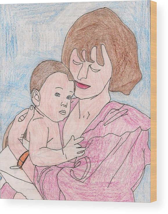 A Mother Holding Her Son - Wood Print
