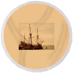 A Small Old Clipper Ship - Round Beach Towel