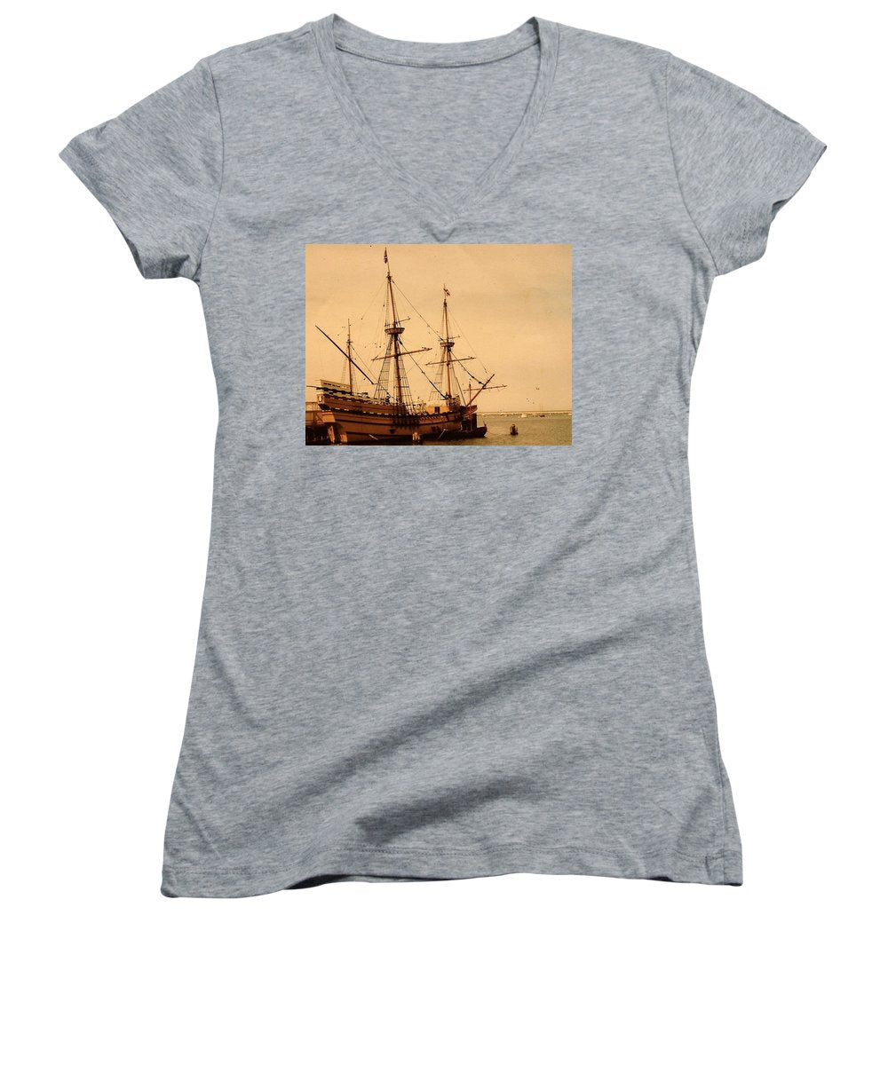 A Small Old Clipper Ship - Women's V-Neck (Athletic Fit)