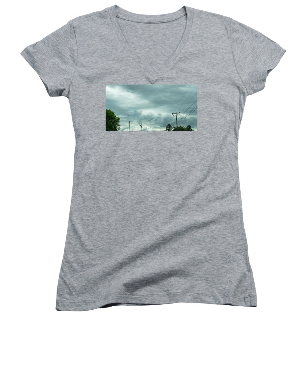 Artwork In Clouds From God - Women's V-Neck (Athletic Fit)
