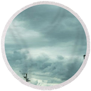 Artwork In Clouds From God - Round Beach Towel