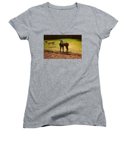 Billy Goat Keeping Lookout - Women's V-Neck (Athletic Fit)