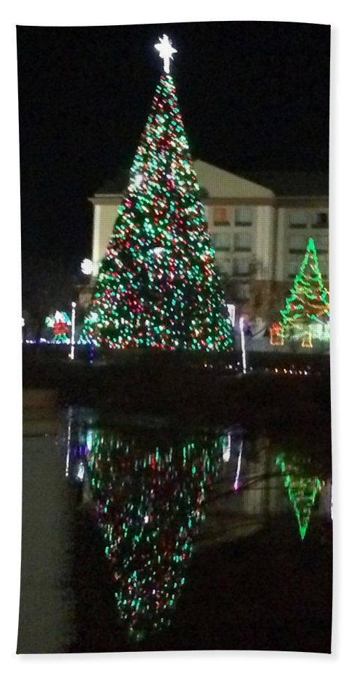 Christmas Tree Reflection - Beach Towel