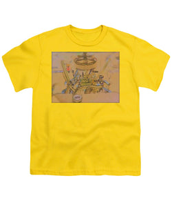 Drawing Of Old Time Engine - Youth T-Shirt