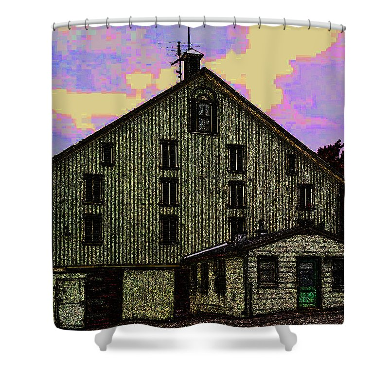 Dwight D. Eisenhower Barn In Gettysburg In Draw Form - Shower Curtain