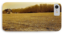 Farm Field With Old Barn In Sepia - Phone Case