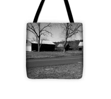 Old Red Barn In Black And White - Tote Bag