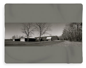 Old Red Barn In Black And White Long - Blanket