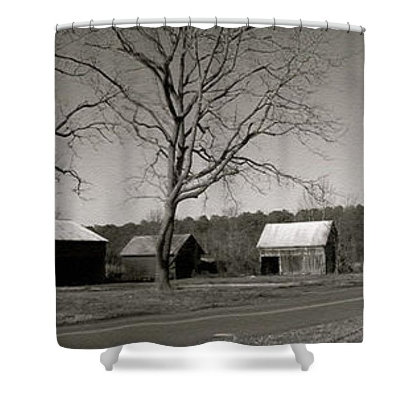 Old Red Barn In Black And White Long - Shower Curtain