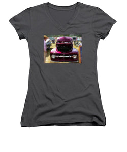Purple Color Pickup Truck - Women's V-Neck (Athletic Fit)