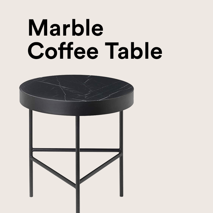 SALE - *AS NEW* Marble Table medium, schwarz