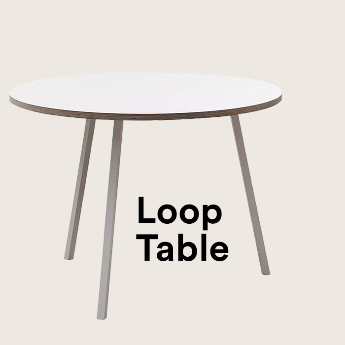 SALE - *NEW* Loop Stand Round Table, Ø 105 cm, weiß / weiß
