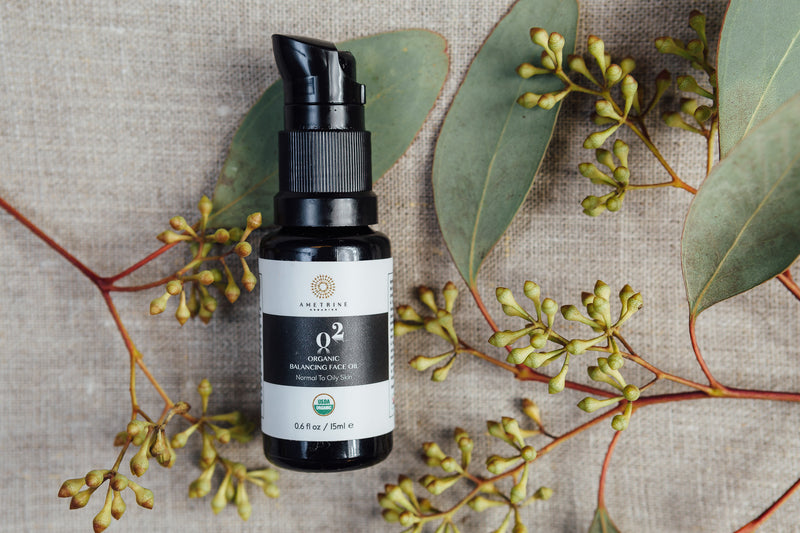 Organic Face Oil Herbs Background
