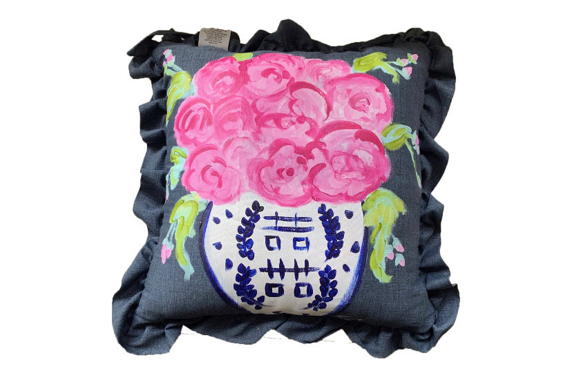 Navy Hand painted Ginger Jar Pillow with ruffled edged