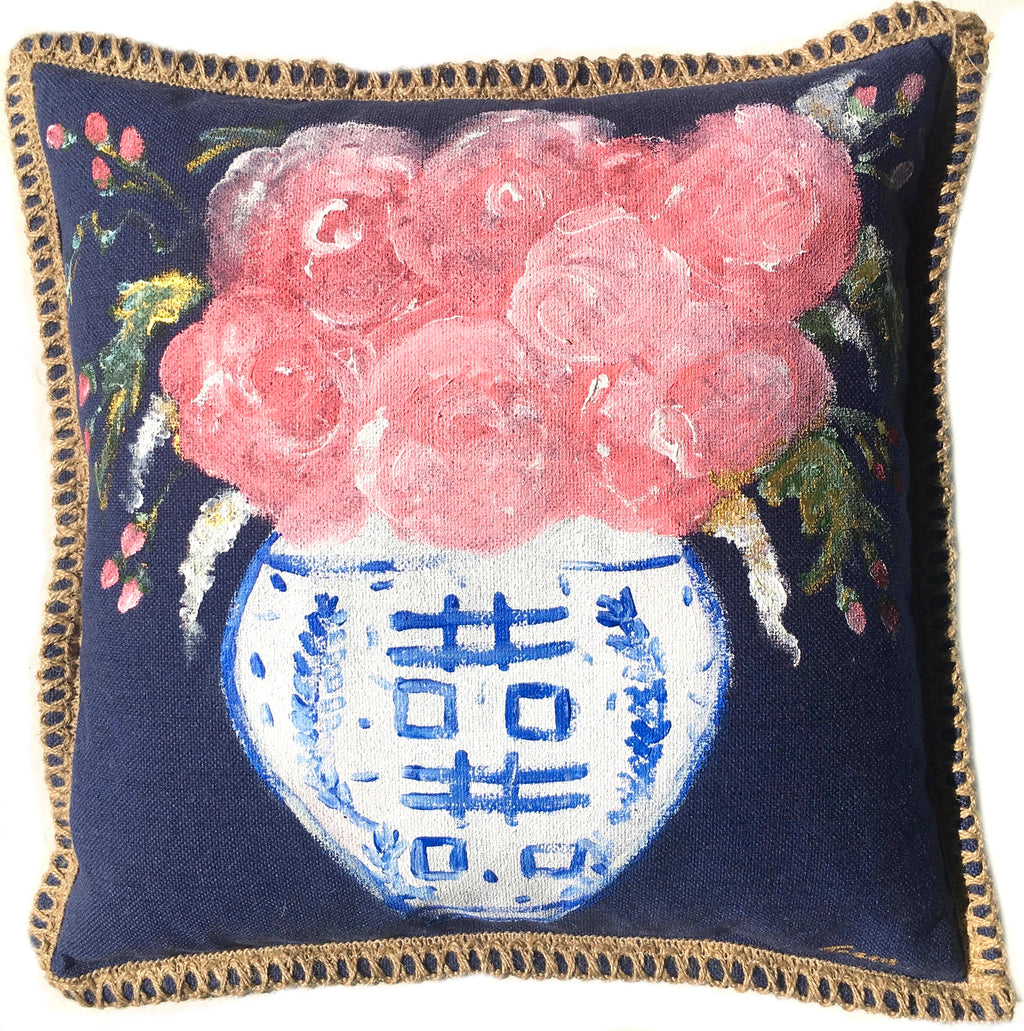 Navy Ginger Jar Pillow with border