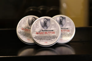 premium beard butter beard balm. beard butter with shea butter, mango butter, argan oil, sandalwood essential oils, peppermint essential oils, and 6 other oils. for long beards, short beards, stubble beard. to stop beard itch, dry beard, and dry skin. men's grooming.