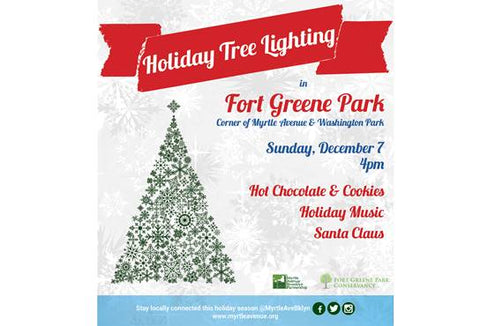 Holiday Tree Lighting in Fort Greene Park on Sunday, December 7th at 4pm