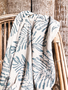 Fern linen hand printed fabric