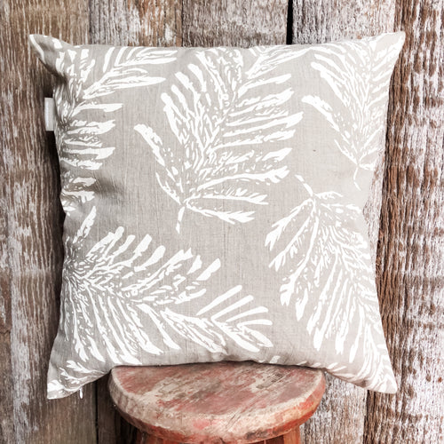 Cream Fern linen cushion 60x60  cm