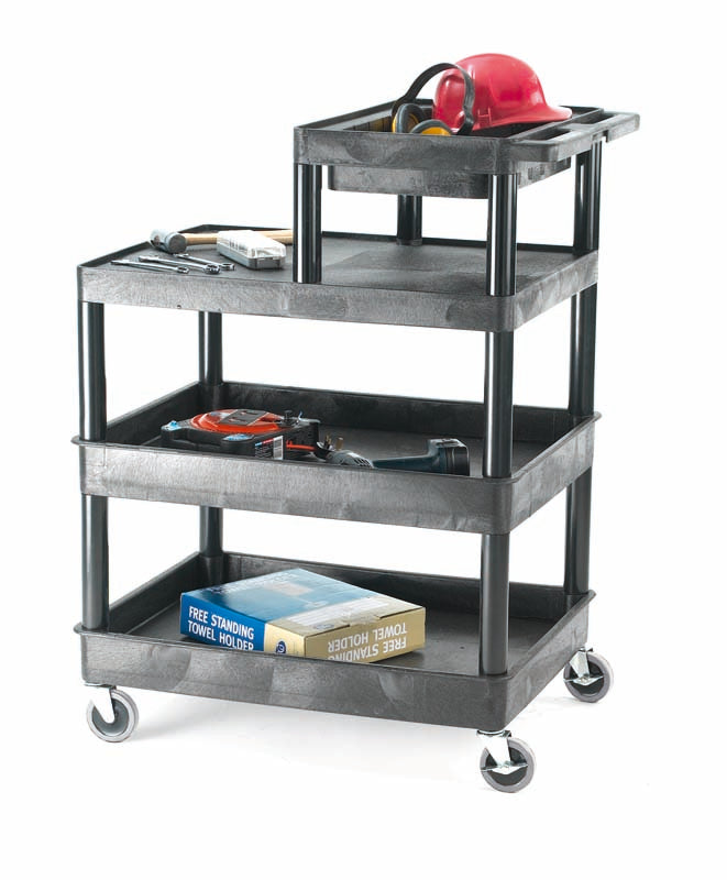 Plastic Multi- Purpose Trolley, with Half Shelf Top Tray