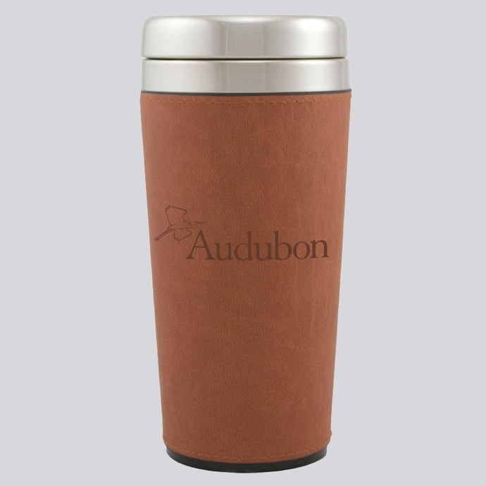 Leather-Sleeved Stainless Steel Audubon Travel Mug