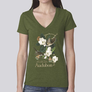 "Women's Classic ""Black-Billed Cuckoo"" V-Neck T-Shirt"