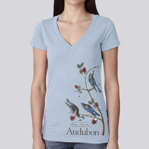 "Women's Classic ""Western Blue Bird"" V-Neck T-Shirt"