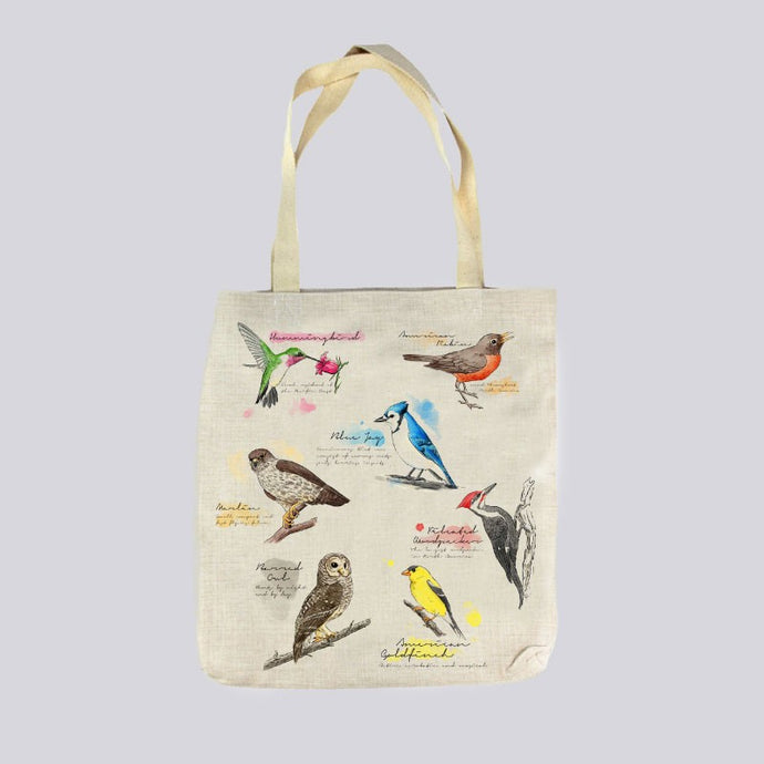 Audubon Watercolor Birds Linen Shop Bag