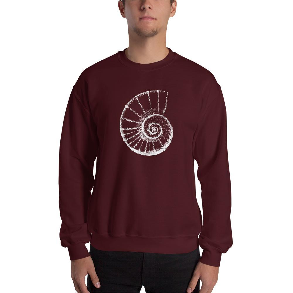 Ammonite Fossil Illustration Sweatshirt SciDye Maroon / S