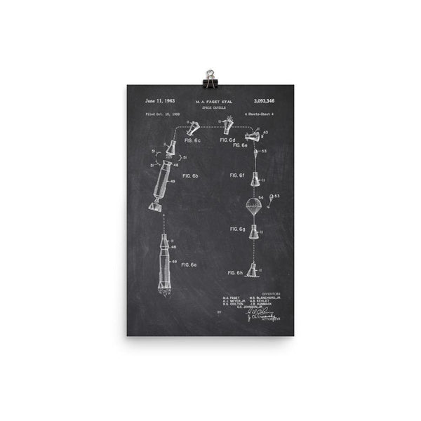 NASA Mercury Space Capsule Launch & Recovery Patent Poster SciDye Default Title