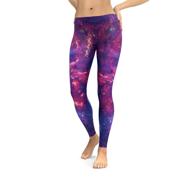 Purple Galaxy Space Leggings SciDye XS