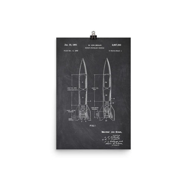 Von Braun Liquid Fueled Rocket Patent Poster SciDye Default Title