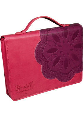 f3cb6290a9 Be Still Flower Bible Case  Large (Leather Pink)