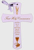 First Holy Communion Hanging Cross: White