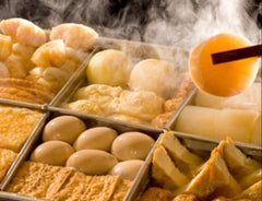 Traditional Japanese Hot Pot: oden is a dashi and soy-based broth into which ingredients are added, many on skewers, to be taken and eaten individually.