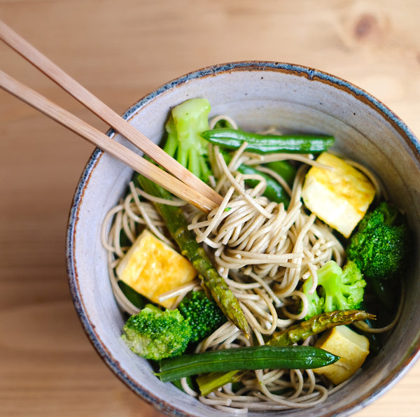 Japanese recipe: Cold Soba Noodles with Green Veggies and Ginger Dressing