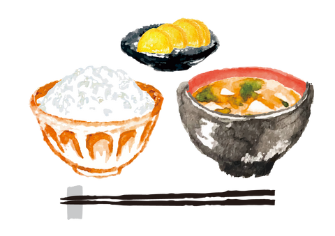 """Edo Era meal of ichiju-issai (lit. """"one bowl of soup and one dish) consisting of miso soup and a side dish plus the staple bowl of rice and pickles."""