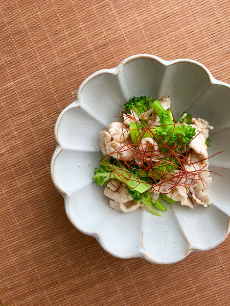 RECIPE: Boiled pork and broccoli marinated with umeboshi