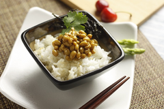 Bandied about as cure-all, probiotics aren't just a fad. Good bacteria, probiotics help the gut be healthy. Pictured: Natto with rice and chopsticks