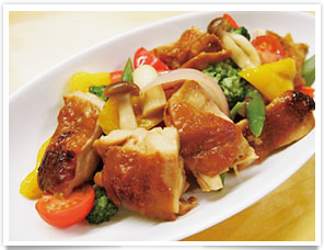 Grilled vegetables and chicken thighs stir fry with Premium oyster sauce from Kesennuma