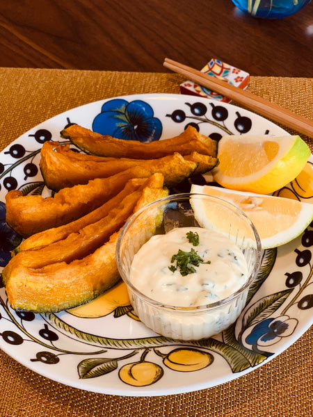 Fried Squash with Shiokoji Cream Cheese Sauce using YAMATO Shoyu Miso's Shiokoji (Dec 2018 Nourishing Essentials and Winter 2018 Seasonal Delights Care Packages)