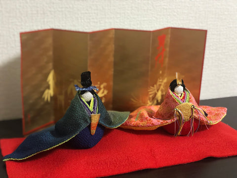 The chirimen zaiku (silk crepe craft) hina-ningyo set my grandmother made. Though my grandparents bought me a larger set when I was born, that set has moved overseas with my parents since. Now, I set up this small set in my apartment to celebrate Girls' Day even when I'm far away from family.